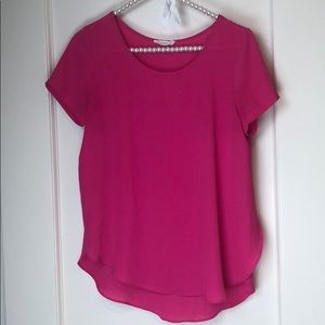 Lush Hot Pink Flowy Short Sleeve Top